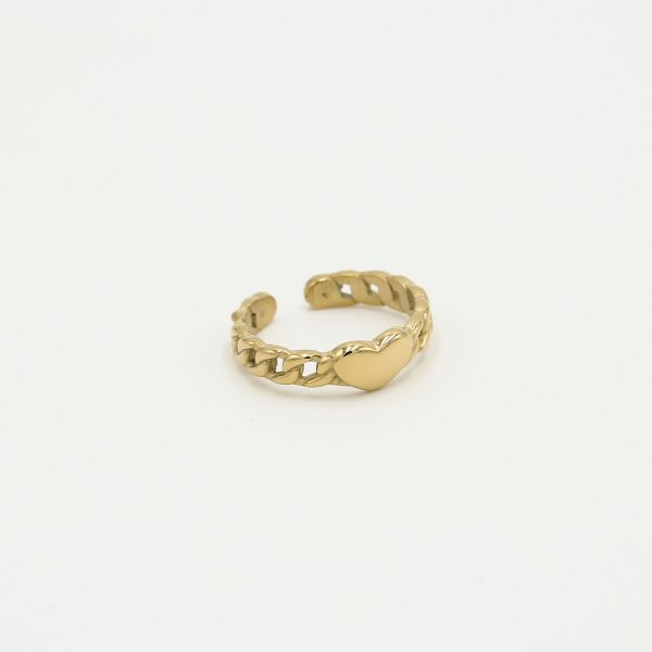 heart chain ring gold