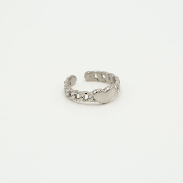 heart chain ring silver