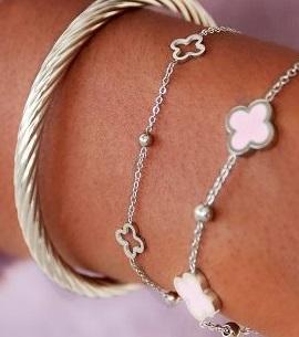 open clover bracelet silver
