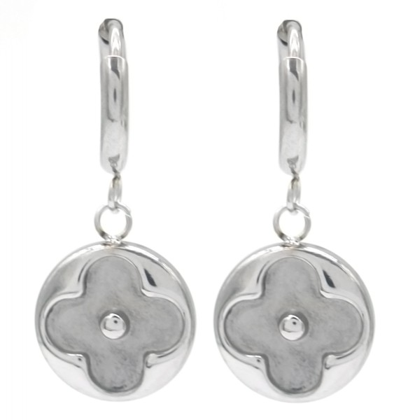 clover coin earrings silver