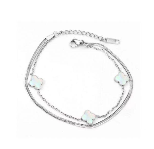 clover charm bracelet silver