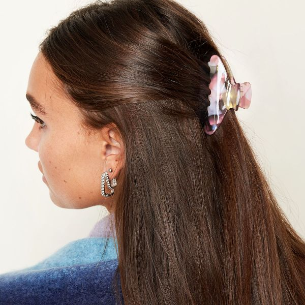 hair clip spotted pink