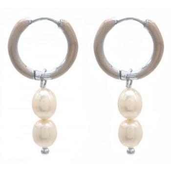 pearl hoops silver
