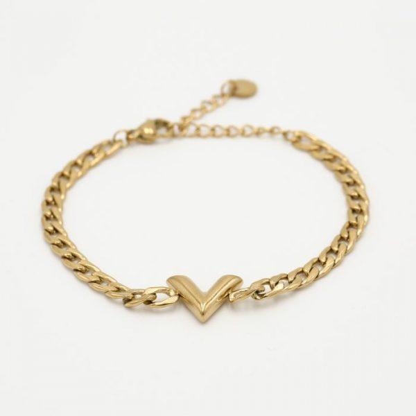 v chain bracelet gold