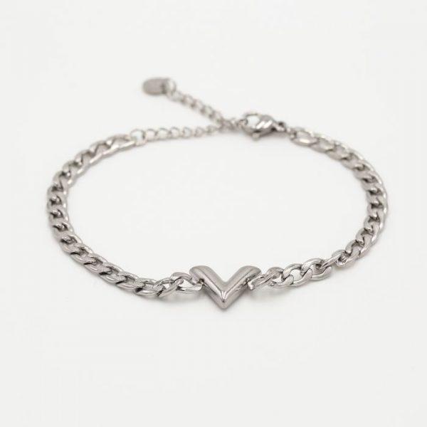 v chain bracelet silver